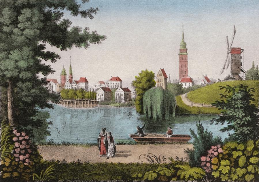 Stich 01, Blick von der Contrescarpe zum Ansgaritor 1807