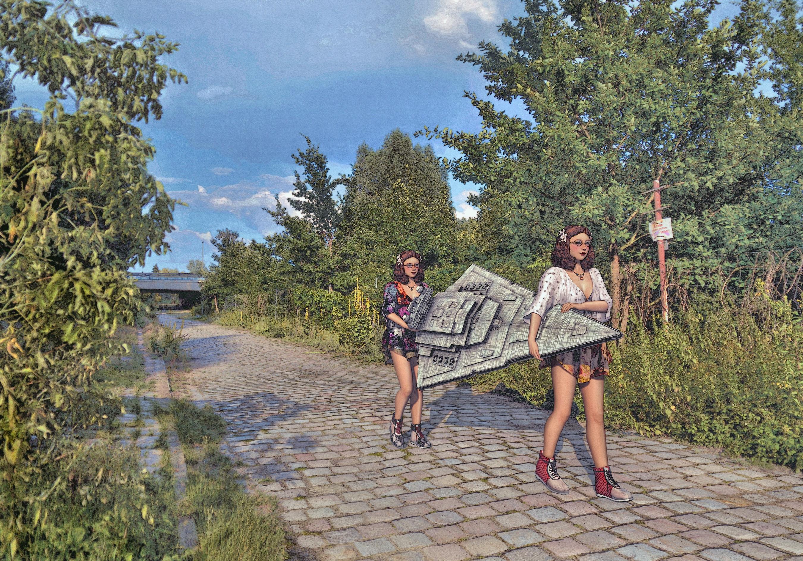 Berlin-Charlottenburg-Nord, Park am Schleusenkanal, Blick zum Tegeler Weg