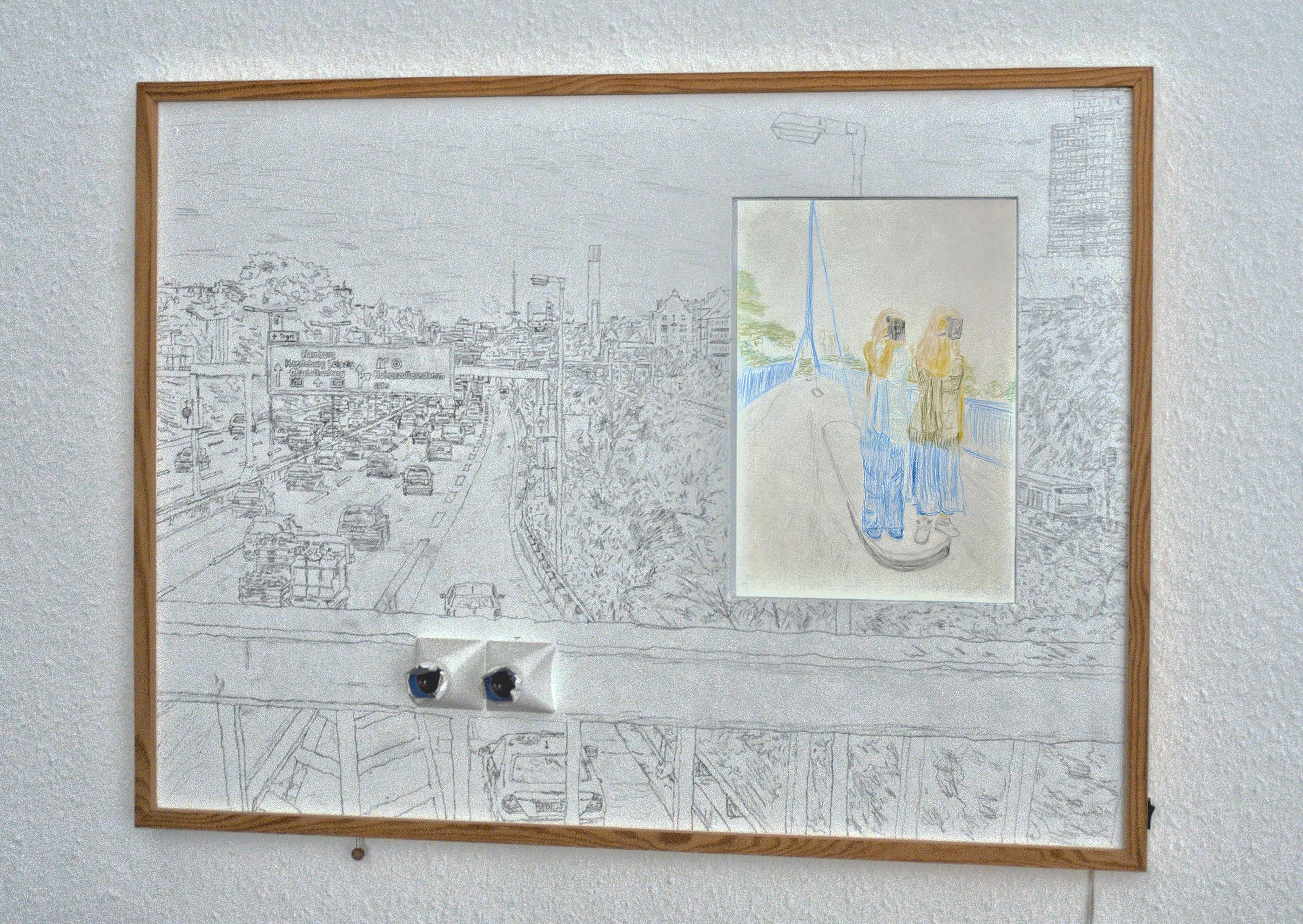 Wandbild - Fussgängerbrücke 'Hoher Bogen', A100